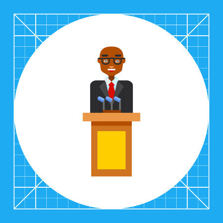 politicians: Male character speaking from tribune. President, public, performing. Politician concept. Can be used for topics like politics, democracy, sociology. Illustration