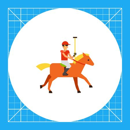 competitors: Polo sport player in red uniform riding brown horse. Competition, animal, control. Polo sport concept. Can be used for topics like sport, health, polo sport.