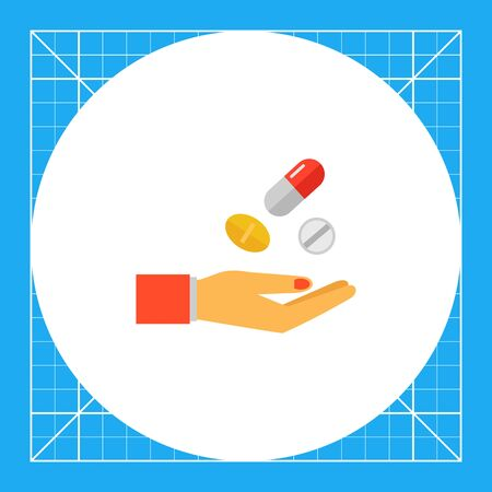 Multicolored vector icon of pills, capsule and woman hand Illustration
