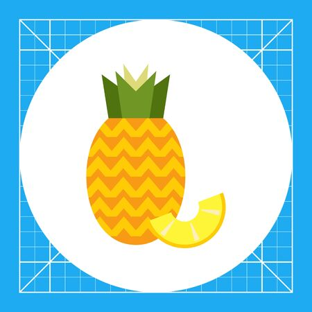 ripe: Vector icon of ripe pineapple with pineapple slice