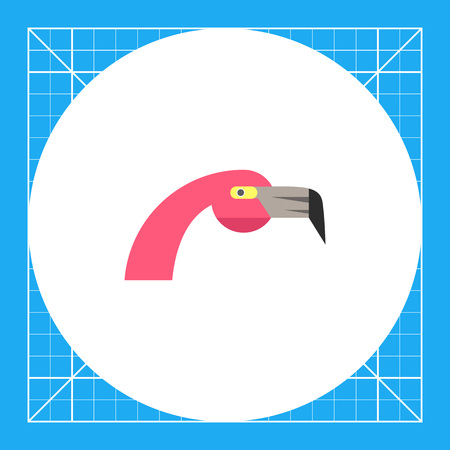 Multicolored vector icon of pink flamingo head, side view