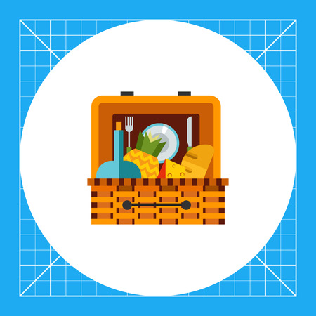 Basket with food for picnic. Lunch, nature, leisure. Picnic concept. Can be used for topics like summer, vacation, picnic. Illustration