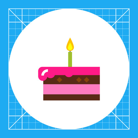 chocolate mousse: Piece of cake with burning candle. Sweet, party, dessert. Cake concept. Can be used for topics like cooking, confectionery, food.