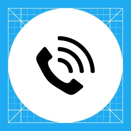 receiver: Monochrome vector icon of vintage telephone receiver