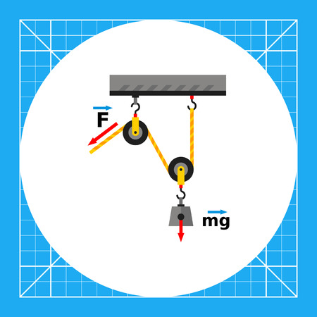 Loaded movable pulleys. Physics, gravitation force, hook, rope. Physics concept. Can be used for topics like physics, science, education, school Vectores