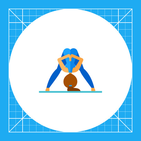 straddle: Woman doing yoga in prasarita pose and pressing palms together behind her back, side view. Exercise, meditation, balance. Asana concept. Can be used for topics like yoga, health, fitness.
