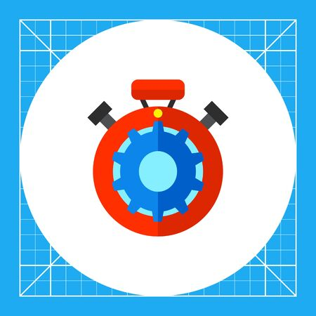 Red stopwatch with blue gear inside. Function, analyzing, time. Processing concept. Can be used for topics like business, technology, marketing. Illustration