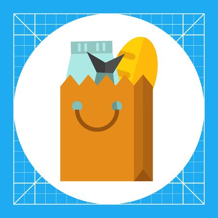 Multicolored vector icon of products in paper package Illustration