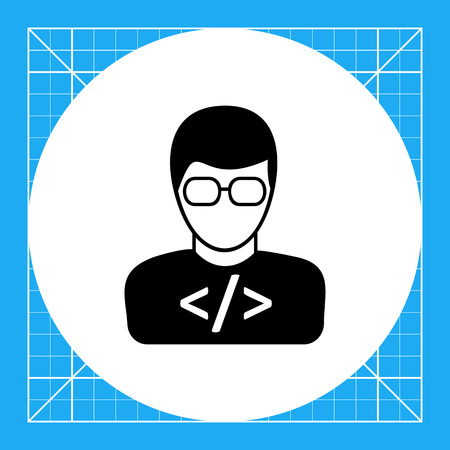 coder: Vector icon of young man wearing glasses with code on t-shirt representing programmer