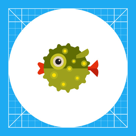 Multicolored vector icon green of puffer fish, side view