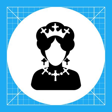 Monochrome vector icon of queen of England faceless silhouette