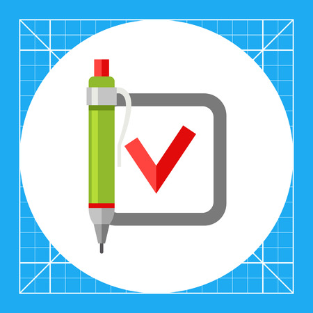 examinations: Red tick in checkbox and green pen. Exam, survey, choice. Quiz test concept. Can be used for topics like study, teaching, education, examinations.