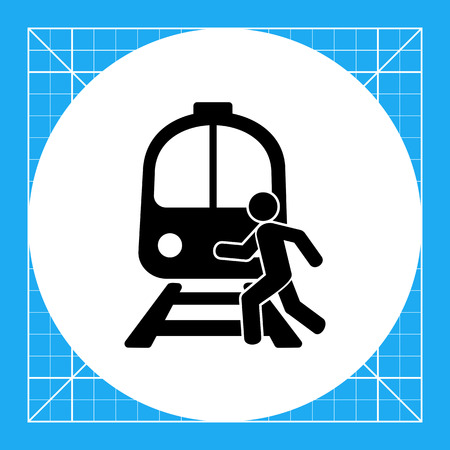 rail track: Man running across rail track in front of train. Carelessness, danger, speed. Rail crossing concept. Can be used for topics like rail transport, insurance, business. Illustration