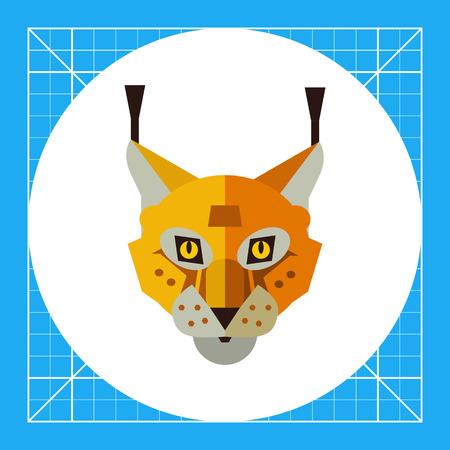 Multicolored vector icon of red lynx head