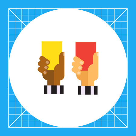 Vector icon of referee hands with red and yellow cards