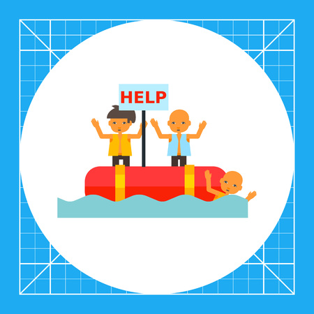 Refugees in boat asking for help. Tragedy, disaster, suffering. Refugees concept. Can be used for topics like terrorism, war, migration.