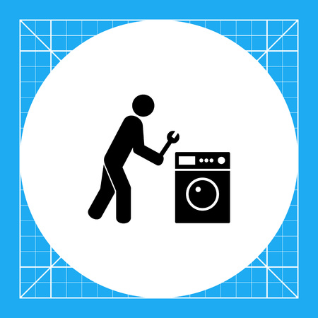 clothes washer: Man holding spanner and clothes washer. Domestic, tool, service. Repairing concept. Can be used for topics like household appliances, repairing, technology.