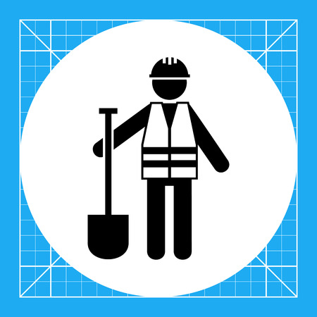road building: Worker in safety vest with spade. Road, asphalt, digging. Roadwork concept. Can be used for topics like road building, construction, business. Illustration