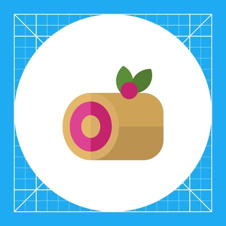 Icon of roll cake with berry on top