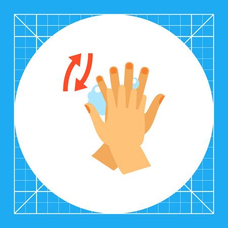 lavamanos: Las manos frotando entre los dedos. Limpia, jabón, hábito. Lavarse las manos concepto. Puede ser utilizado para temas como la higiene, la salud, la asistencia sanitaria. Vectores