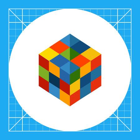 Multicolored vector icon of square rubik cube