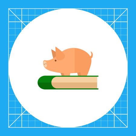 master degree: Icon of piggy bank standing on book