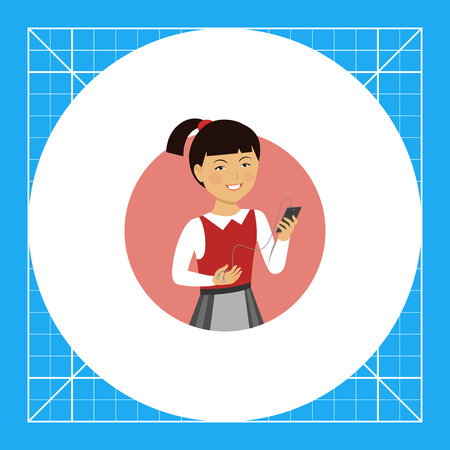 Female character, portrait of smiling Asian schoolgirl holding smartphone with headphones