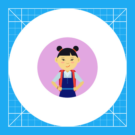 Female character, portrait of smiling Asian school girl with backpack Illustration