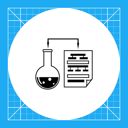 Monochrome vector icon of laboratory experiment with chemical reaction and science data in paper sheet