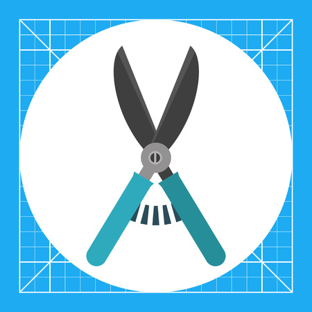 Multicolored vector icon of secateurs with blue handles Illustration