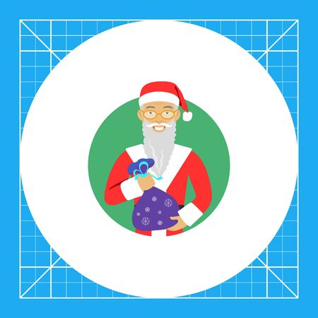 santa costume: Male character, portrait of senior man wearing Santa costume and fake beard, holding sack with gifts