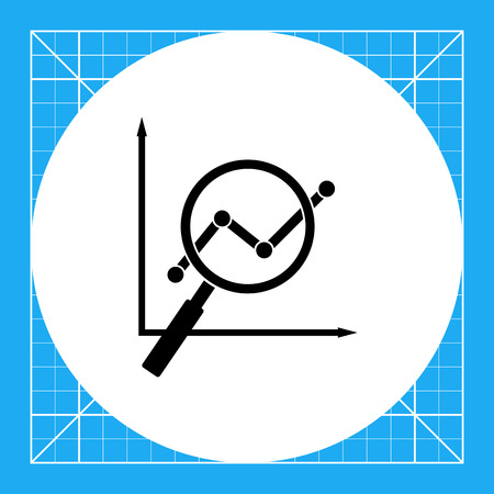 keyword research: Vector icon of graph viewed through loupe representing SEO concept Illustration