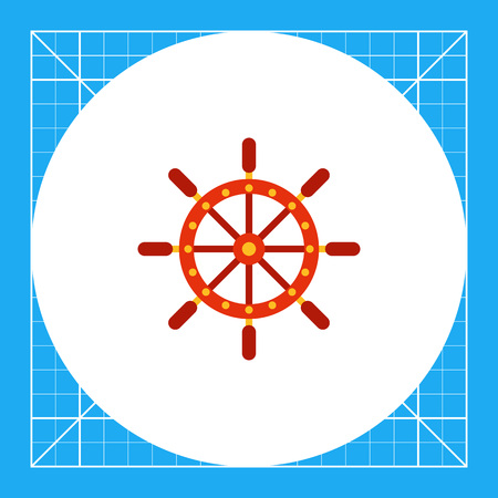 Multicolored vector icon of ship steering wheel