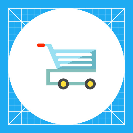 Multicolored vector icon of shopping cart with wheels