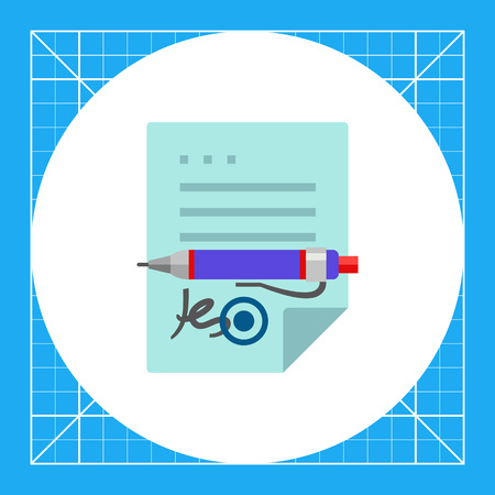 signing contract: Contract with seal and signature and pen lying on it. Agreement, responsibility, document. Signing contract concept. Can be used for topics like business, management, finance.