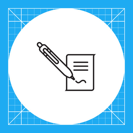 signing papers: Icon of document and writing pen putting signature