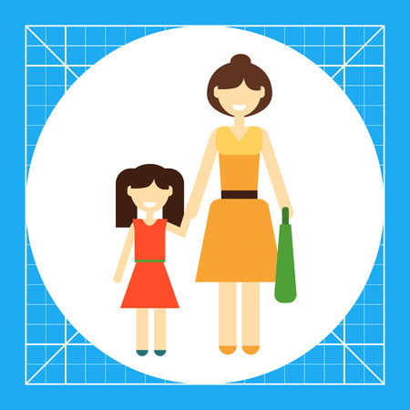 one woman: Icon of single-parent family consisting of one woman and one child