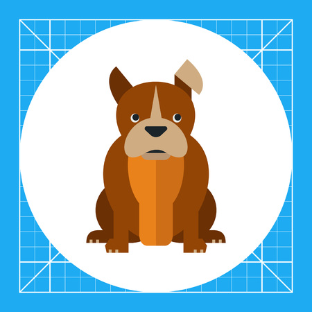 Multicolored vector icon of sitting bulldog with hanging ear Illustration