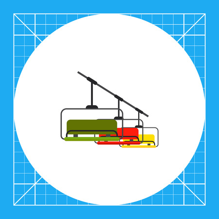 chairlift: Vector icon of ski lift with three colorful benches