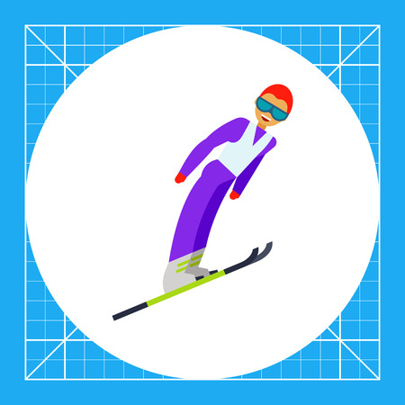 skier jumping: Illustration of smiling male skier jumping. Sport, ski jumping, competition. Ski jumping concept. Can be used for topics like sport, ski jumping, competition, leisure activity Illustration