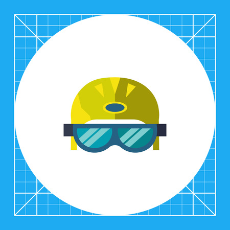 Multicolored vector icon of skier helmet with goggles