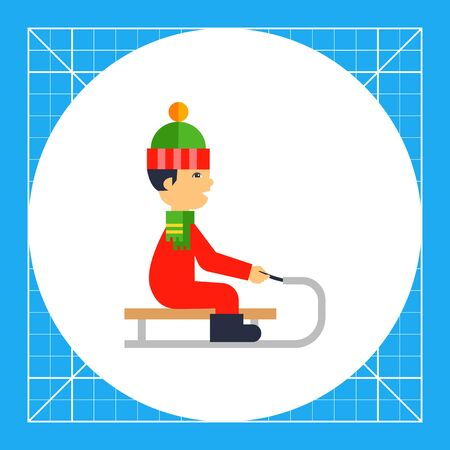 Illustration of boy wearing hat and scarf sledging. Winter, sledging, leisure activity. Sledging concept. Can be used for topics like sport, childhood, leisure activity