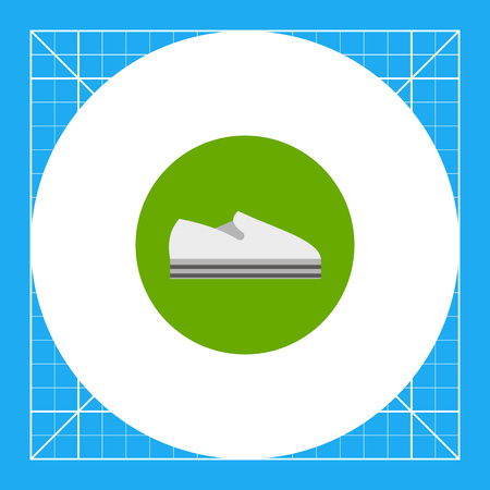 flat foot: Slip-on sneaker with circle in background. Comfortable, unisex, casual. Summer footwear concept. Can be used for topics like footwear, sport, fashion.