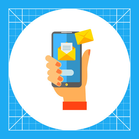 Illustration of hand holding smartphone with emails. Correspondence, social network, messages. Mail concept. Can be used for topics like correspondence, e-mail, Internet, devices