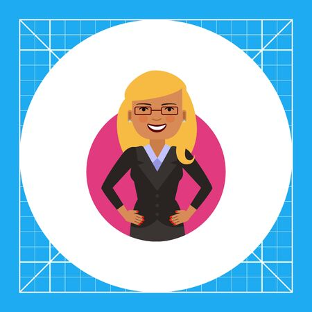 Female character, portrait of smiling businesswoman with hands akimbo