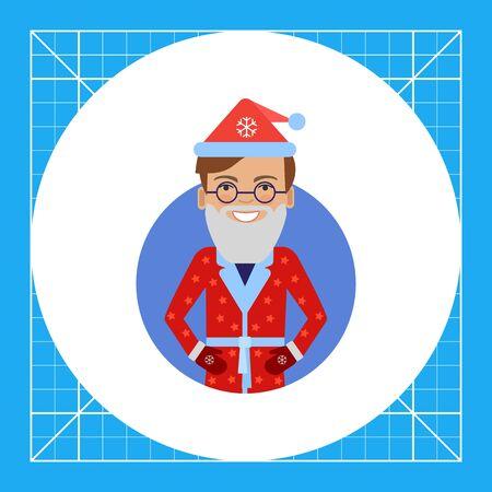 Male character, portrait of smiling man wearing Santa costume and fake beard Illustration