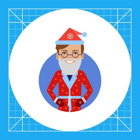 Male character, portrait of smiling man wearing Santa costume and fake beard Illustration