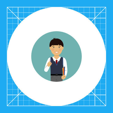 waistcoat: Male character, portrait of smiling Asian schoolboy