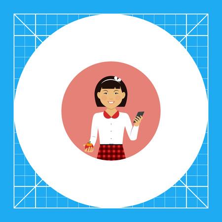 early teens: Female character, portrait of smiling Asian schoolgirl