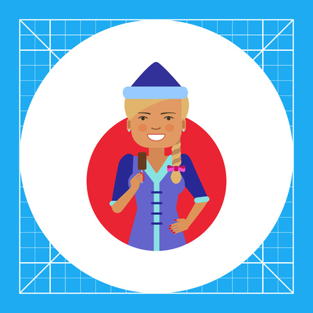 holing: Female character, portrait of smiling woman wearing fancy dress, holding choc-ice Illustration